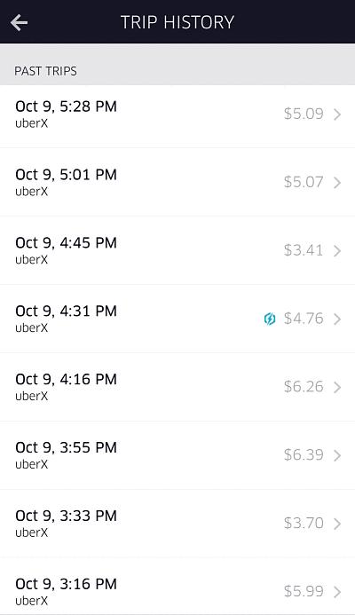 uber trip history