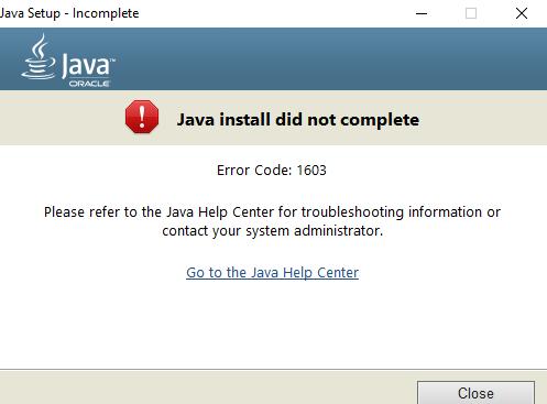 Java Error1603